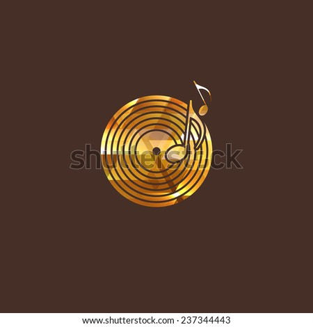 illustration with vinyl disc icon. logo icon - stock photo