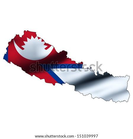 Illustration with waving flag inside map - Nepal - stock photo