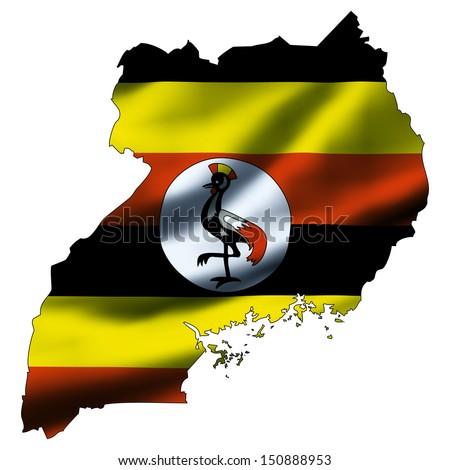 Illustration with waving flag inside map - Uganda - stock photo