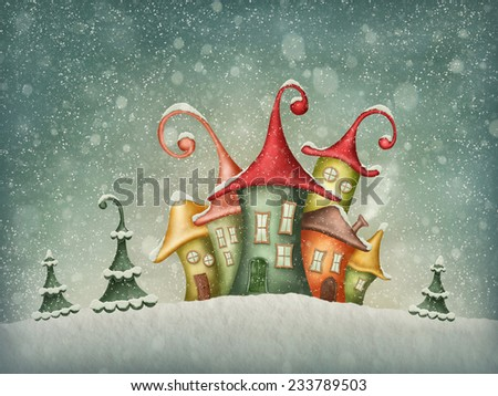 Illustration with winter houses and christmas trees  - stock photo
