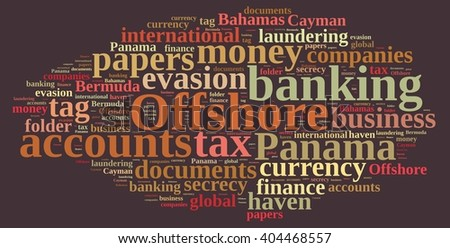 Illustration with word cloud on Offshore Companies. - stock photo