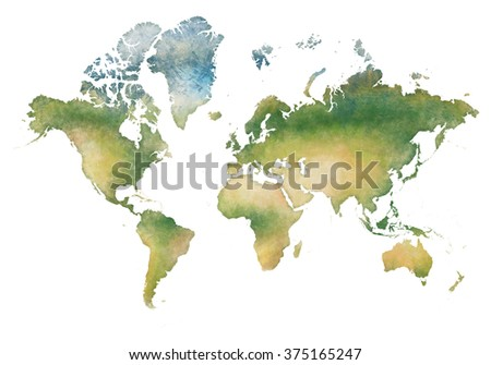 illustration world map and the continents of planet earth - stock photo