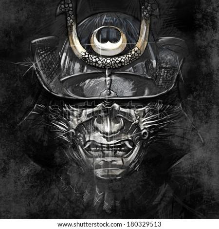 illustrations from a Japanese samurai warrior mask - stock photo