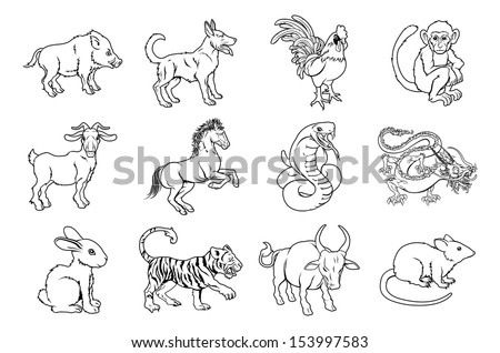 Illustrations of all twelve Chinese zodiac sign icon animals - stock photo
