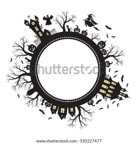 illustrations of Halloween greeting planet - stock photo