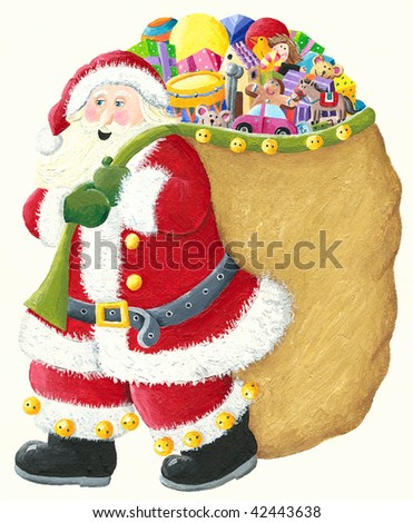 Illustrations of Santa with sack full of toys - stock photo