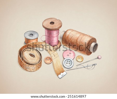 Illustrations of sewing tools - stock photo
