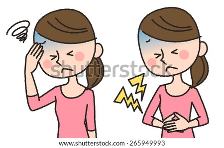 illustrations of stomachache and headache - stock photo