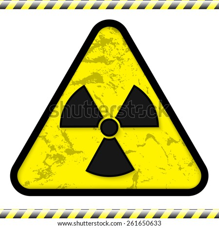 illusutration of radiation sign with warning strip - stock photo