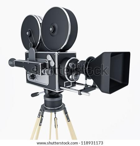 ilustration of movie camera isolated on white - stock photo