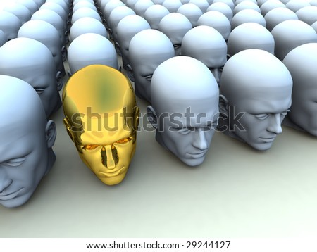image about being an individual amongst conformists. - stock photo
