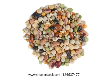 Image assorted beans in circle shape against white background - stock photo