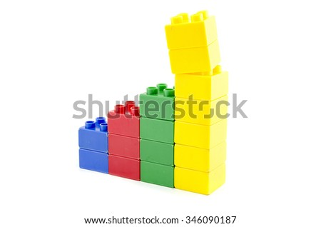 image concept extraordinary profit margin shrinking via building blocks isolated white background.copy space to the left - stock photo