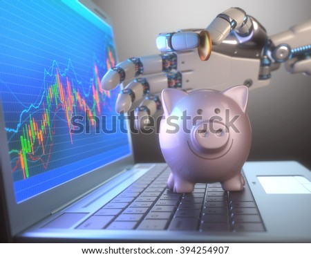 Image concept of software (Robot Trading System) used in the stock market that automatically submits trades to an exchange without any human interventions. - stock photo