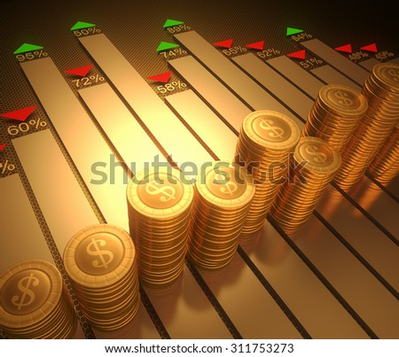 Image concept stylized graphic of the stock market. Clipping path on the coins. - stock photo