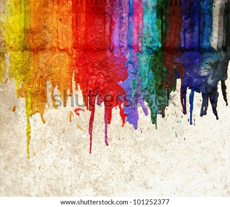 image from color and texture background series (melted coloring crayons) good for back to school theme or teaching elementary school children primary colors - stock photo