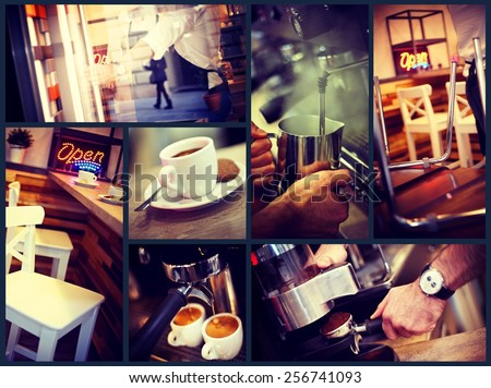 Image grid of atmospheric photos of a trendy urban cafe. - stock photo