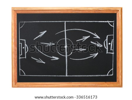 Image in white chalk on a blackboard - playbook and football - stock photo
