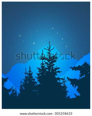 Image landscape. Silhouette of coniferous trees and snowy rocks on the background of night sky. - stock photo