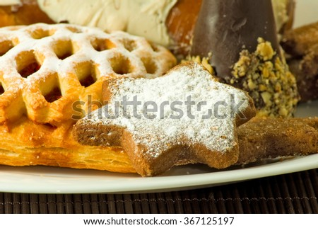 Image many delicious cookies closeup - stock photo