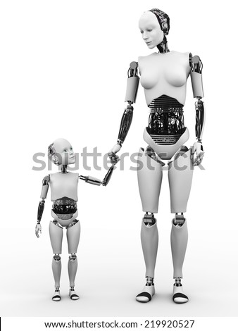 Image number two of robot woman holding hand with her robot child. White background. - stock photo