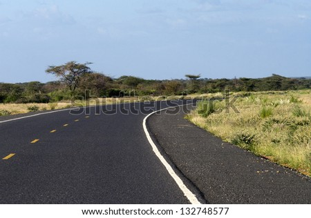 Image of a  asphalt road in the African savannah - stock photo