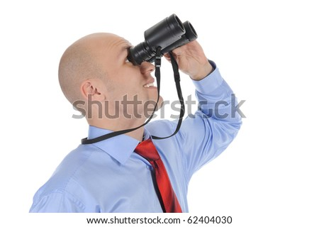 Image of a bald businessman looking up through binoculars. Isolated on white background - stock photo