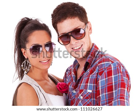 Image of a beautiful casual couple shot in studio - stock photo