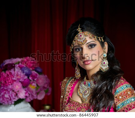 Image of a beautiful Indian bride traditionally dressed - stock photo