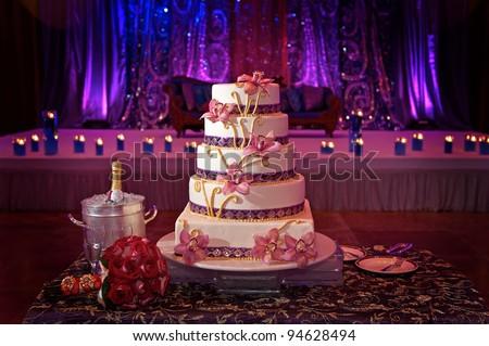 Image of a beautiful wedding cake at wedding reception - stock photo