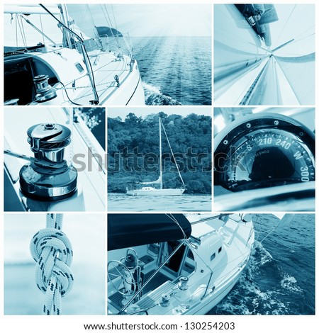 Image of a beautiful yacht in the open sea on a sunny day. Collage - stock photo