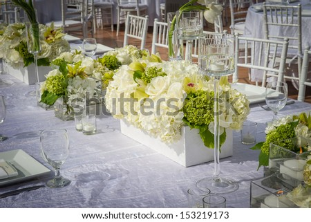 Image of a beautifully decorated wedding venue - stock photo