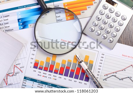 Image of a businessman workplace with papers - stock photo