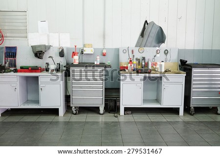 Image of a car repair garage - stock photo