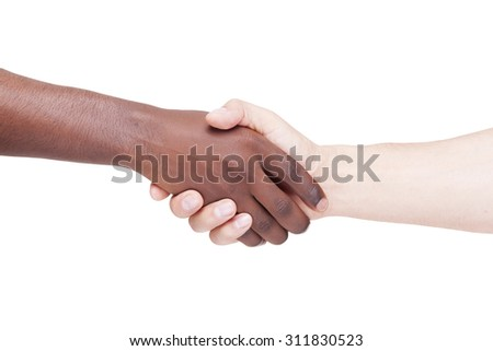 Image of a caucasian and african man shaking hands, isolated on white background - stock photo