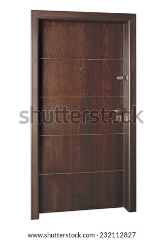 Image of a closed door, isolated on white background - stock photo