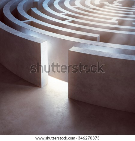 Image of a complicated circular maze lit - stock photo