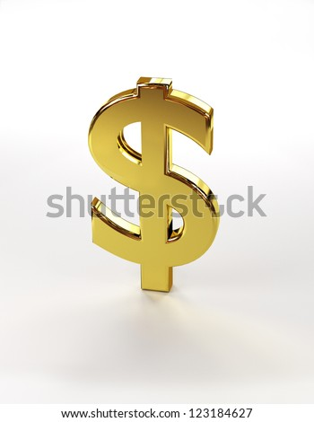 Image of a dollar sign isolated on a white background. - stock photo