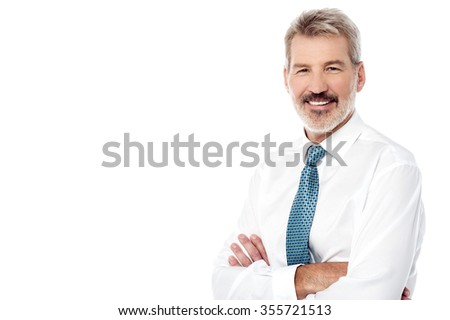 Image of a elderly smiling business manager - stock photo