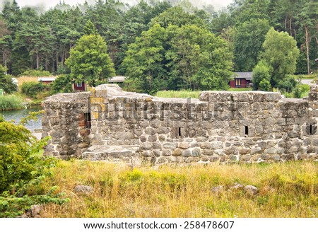 Image of a fort ruin, in Ahus, Sweden.  - stock photo