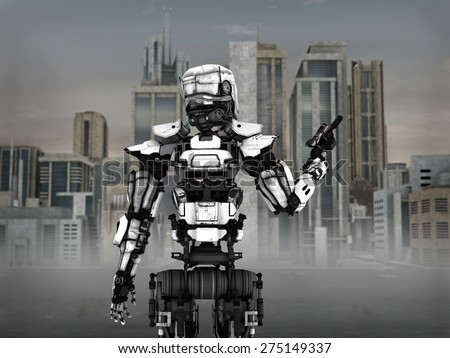 Image of a futuristic robot soldier holding gun, standing in front of a science fiction inspired city. - stock photo