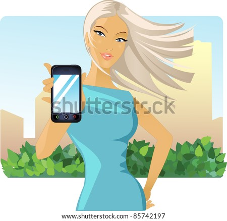 image of a girl who holds out his hand to a mobile phone - stock photo