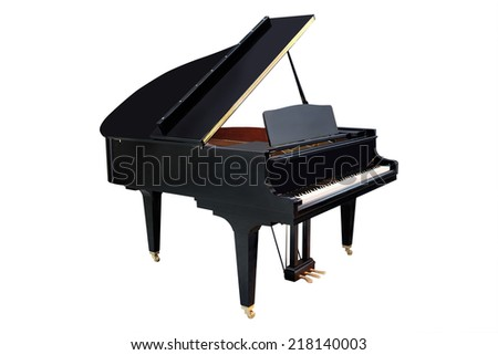 image of a grand piano under the white background - stock photo