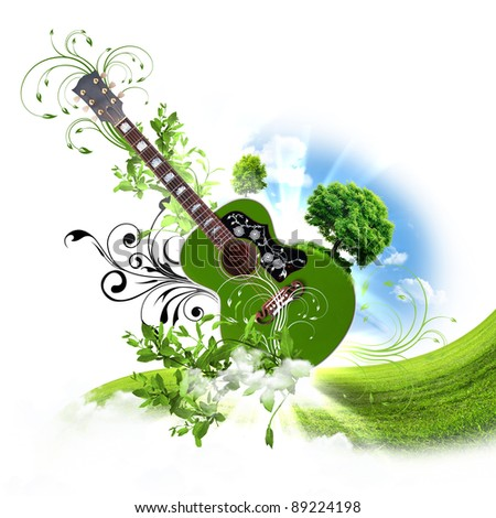 Image of a guitar against decorative background - stock photo
