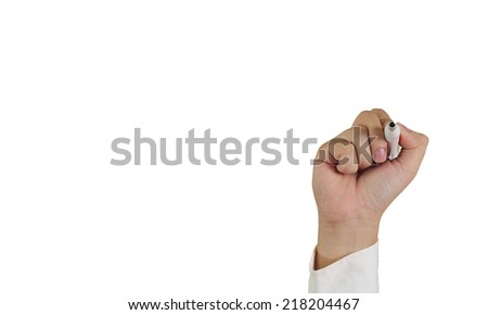 Image of a hand holding marker in writing position isolated on blank white space - stock photo