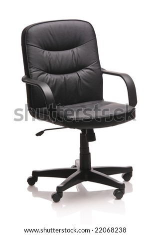 Image of a leather office chair isolated against white background - stock photo