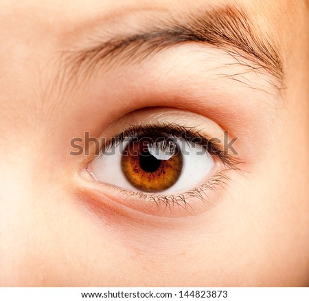 image of a little girl eye open - stock photo