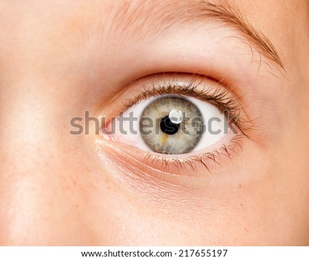 image of a little girl eye open - stock photo
