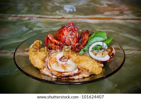 Image of a Lobster Dinner prepared 3 ways - stock photo
