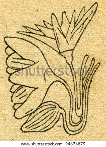 """image of a lotus flower in Egyptian tomb - an illustration from the book """"In the wake of Robinson Crusoe"""", Moscow, USSR, 1946. Artist Petr Pastukhov - stock photo"""